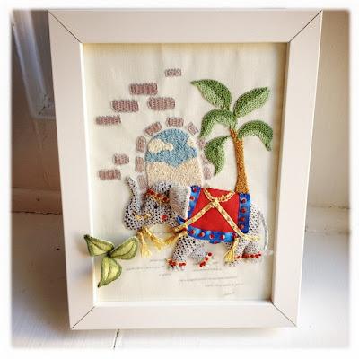 Stumpworkbroderi. Elefant med wired fabric based elements.