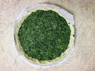 Swissh chard, spinach, ham and cheese Italian savoury pie