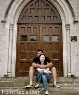 Thomas and Tracie on church steps