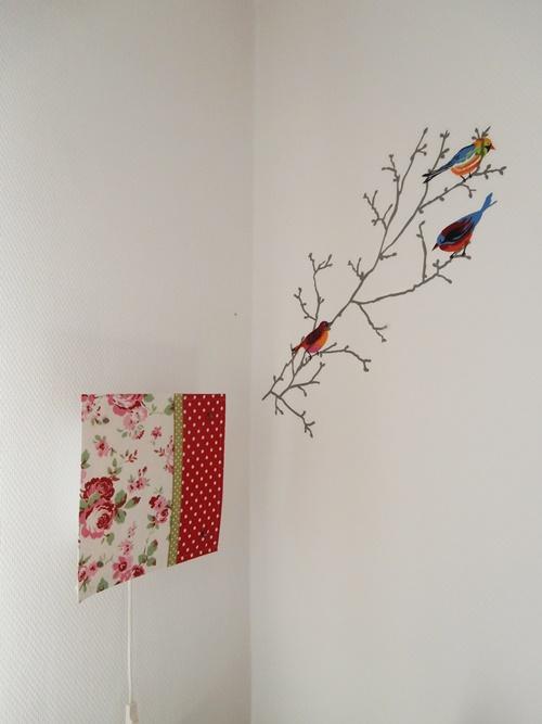 Lampe Lampenschirm DIY Wallart Wandtattoo Vögel Kinderzimmer