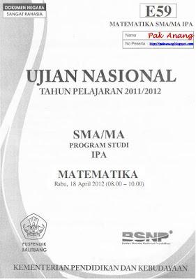 kini pembahasan UN Matematika SMA tahun  Pembahasan Soal UN Matematika SMA Program IPA 2012 (TRIK SUPERKILAT) (Paket E59)