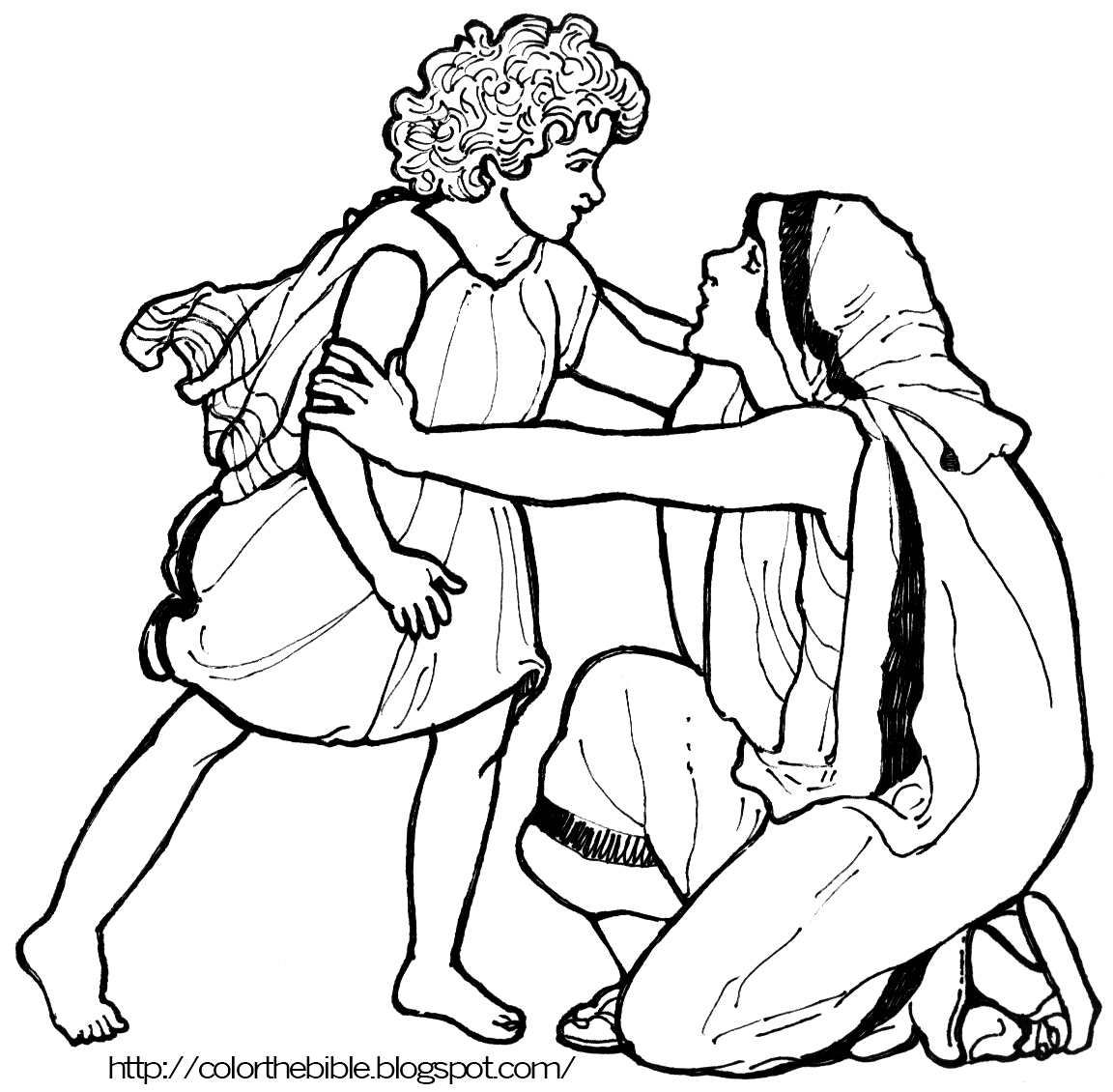 Coloring sheet hannah and samuel - Description Of Coloring Page Samuel Runs To His Mother To Say One Last Goodbye She Brings Him A New Set Of Cloths Every Year
