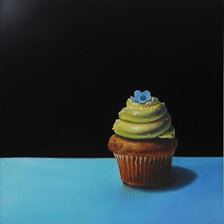 realistic cupcake painting by jeanne vadeboncoeur