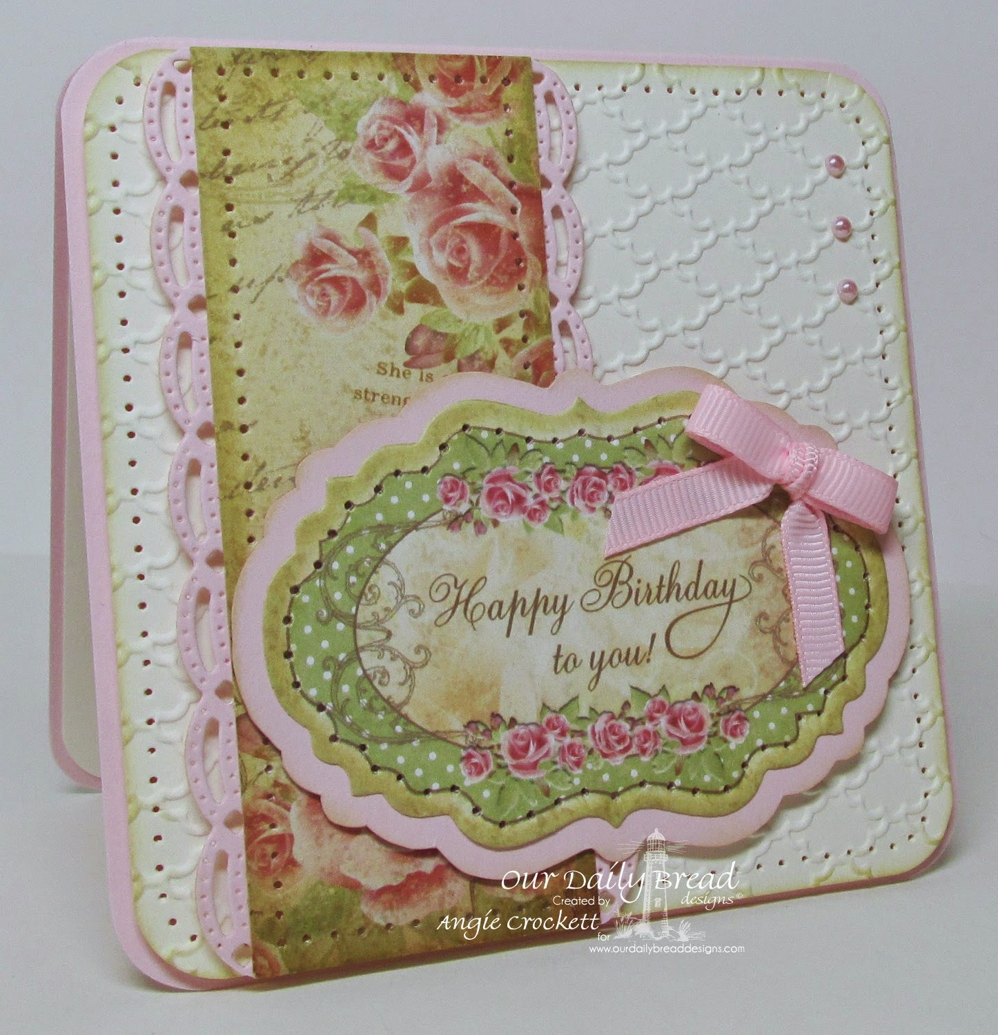 ODBD Blushing Rose Collection, ODBD Custom Beautiful Borders Die Set, ODBD Custom Vintage Labels Die Set, Card Designer Angie Crockett