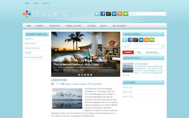 Light Blue Business Free Blogger Theme Template