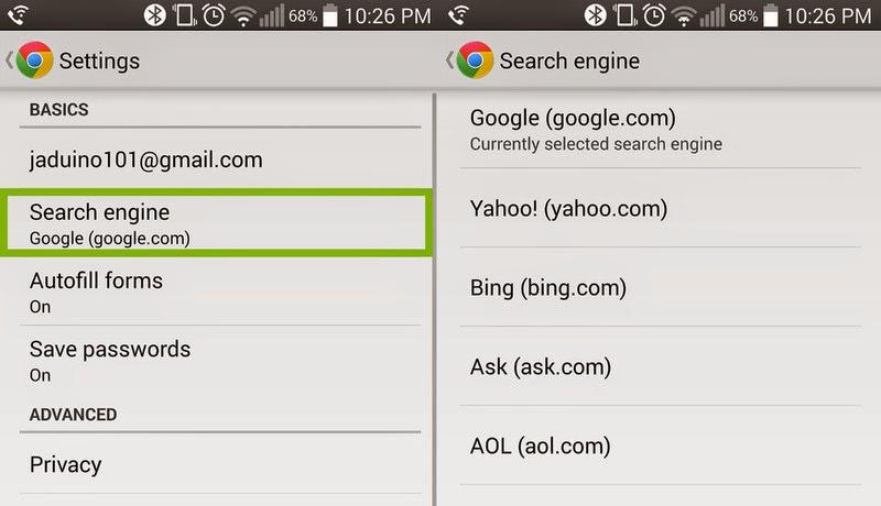 Cara merubah default search engine pada Google Chrome di android