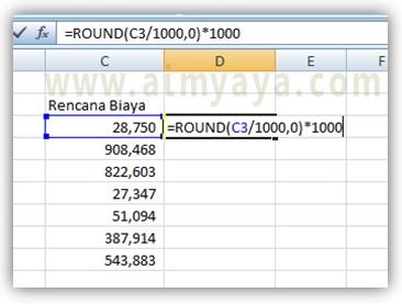 Gambar: contoh pemakaian fungsi ROUND, ROUNDUP, ROUNDDOWN di Microsoft Excel