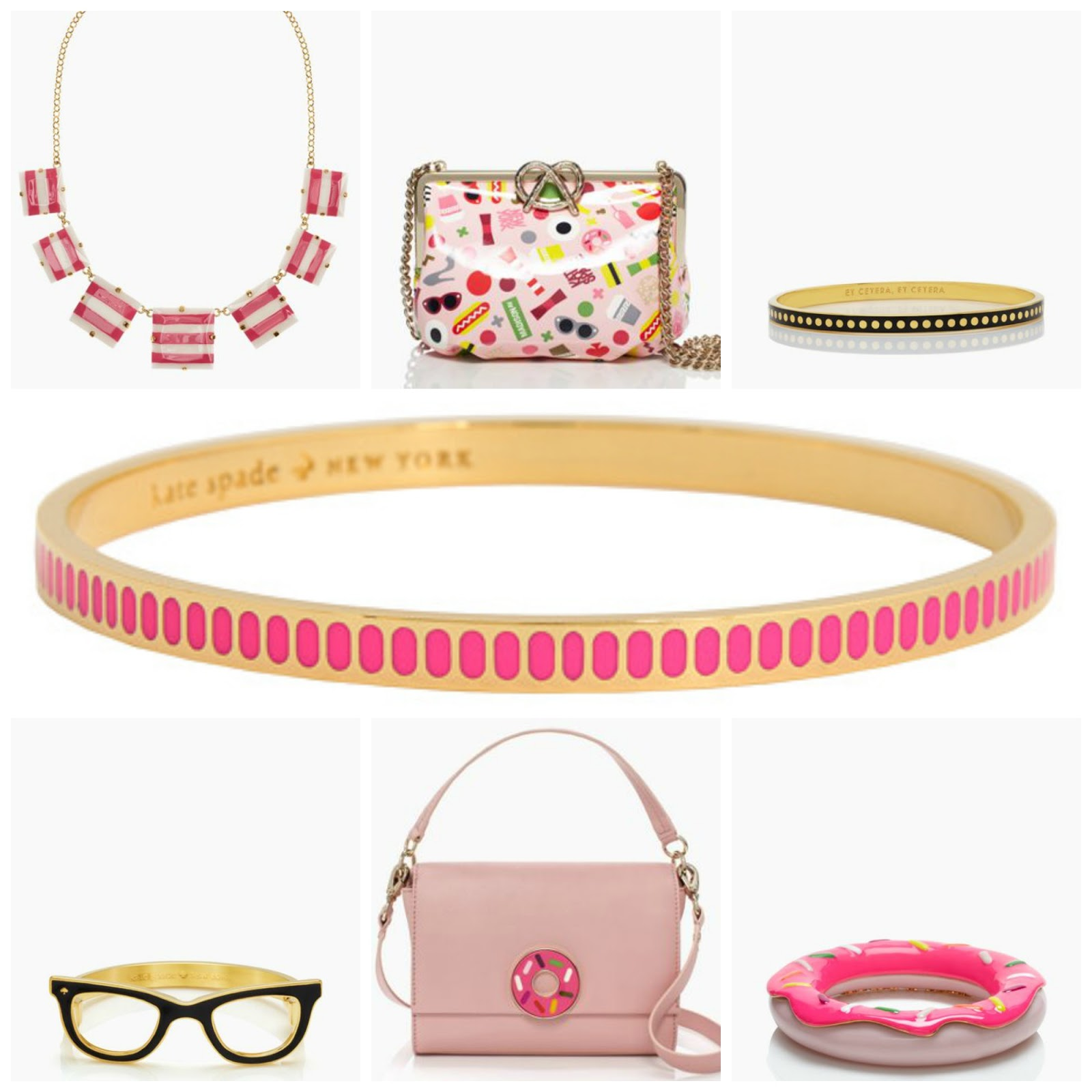 kate spade, kate spade new york, ksny, ksny x darcel, donuts, pink, black, wishlist, bangle bracelets, handbags, structured handbags, clutch, food prints