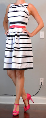 Black  White Striped Maxi Dress on Posts  Outfit Post  Black And White Striped Dress With Pink Belt