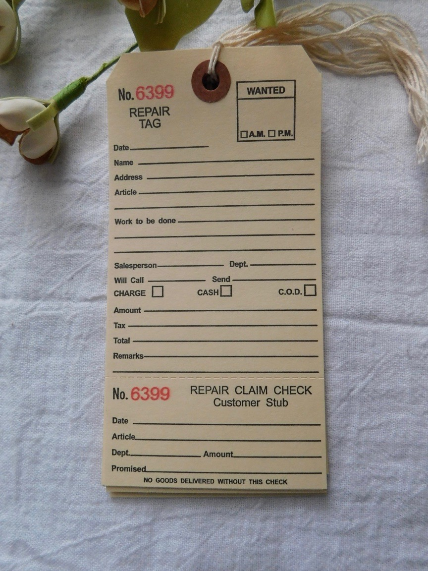 FOR SALE: Repair Tag - Set Of 15
