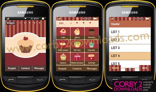 Samsung Corby 2 Theme: Cupcake (3 themes)