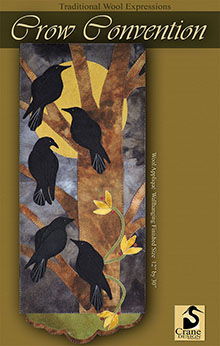 "Crow Convention Wool Applique Wallhanging 12"" x 30"""
