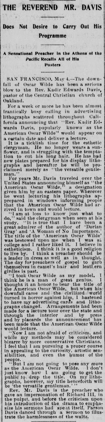 Clipping of article on Reverend Kadir Davis