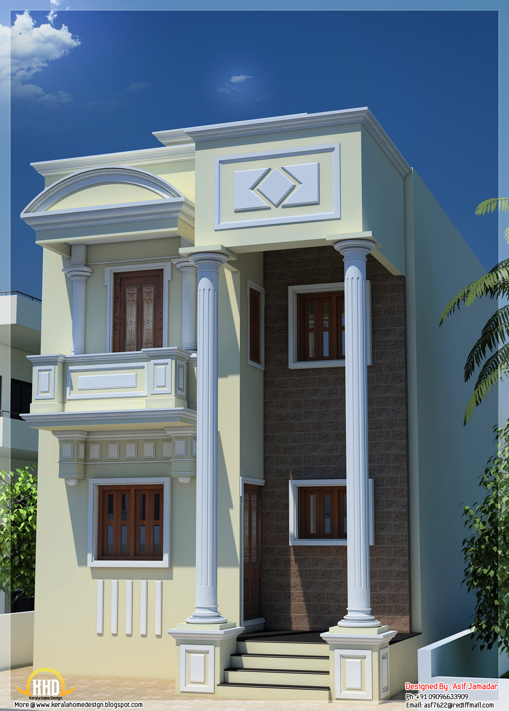 1600 sq ft narrow house design in india kerala home for Architecture design small house india