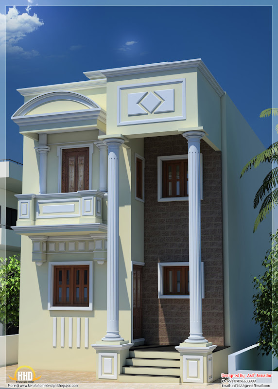 1600 sq. ft. narrow house design in India title=