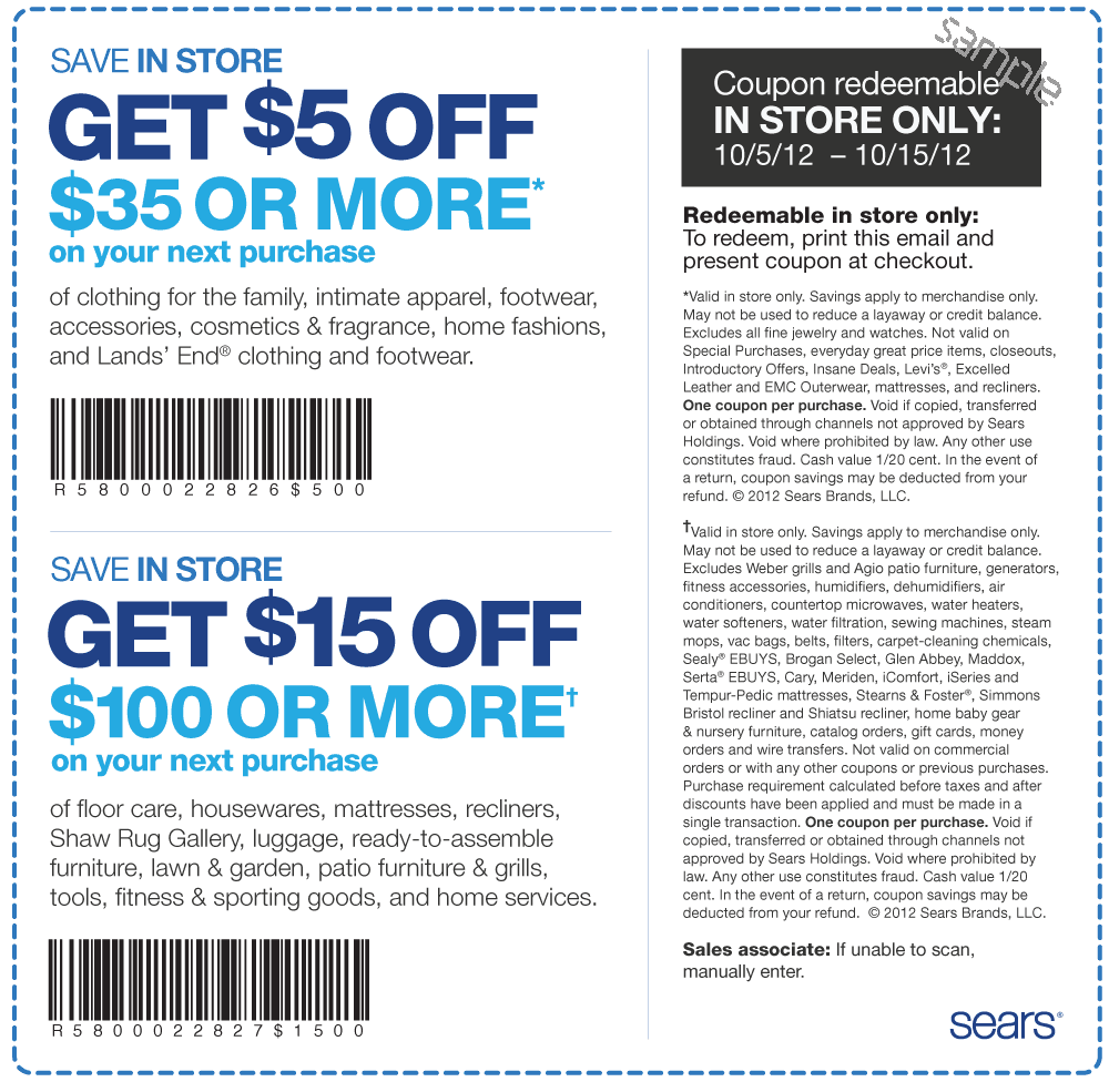 Earn a $40 statement credit when you spend $50 on eligible purchases. see details; Online only! Free standard local delivery on Sears & Kmart home delivered orders $ or more see details 10% off appliance items over $ or special financing on appliance items over $ with Sears Card see details $ 1/10 cttw diamond earrings with storewide purchase of $ or more at fastdownloadecoqy.cf see.