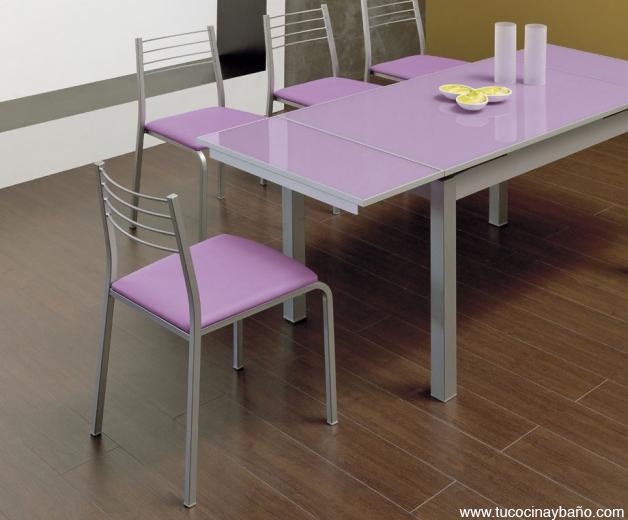 Mesa de cocina cristal lila