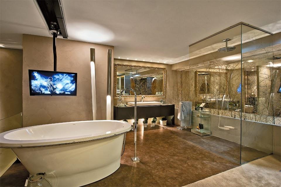 Banheiros com Banheiras! 30 Modelos maravilhosos!  DecorSalteado -> Projeto De Banheiro Com Banheira Redonda