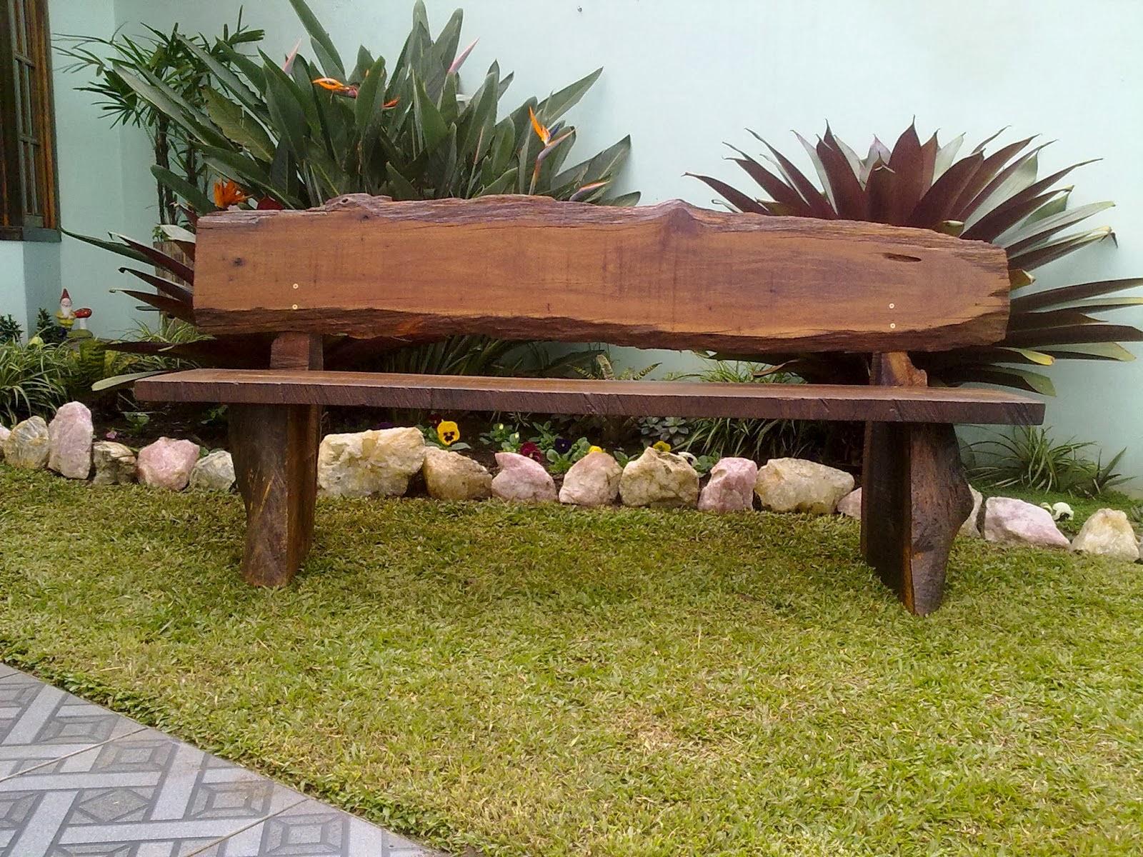 decoracao para jardins mercado livre: Decoração: Ideias para Bancos de Jardim feitos de Madeira