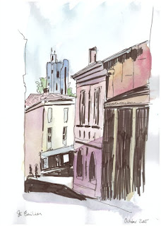 St Emilion Bordeaux 2 ink and wash
