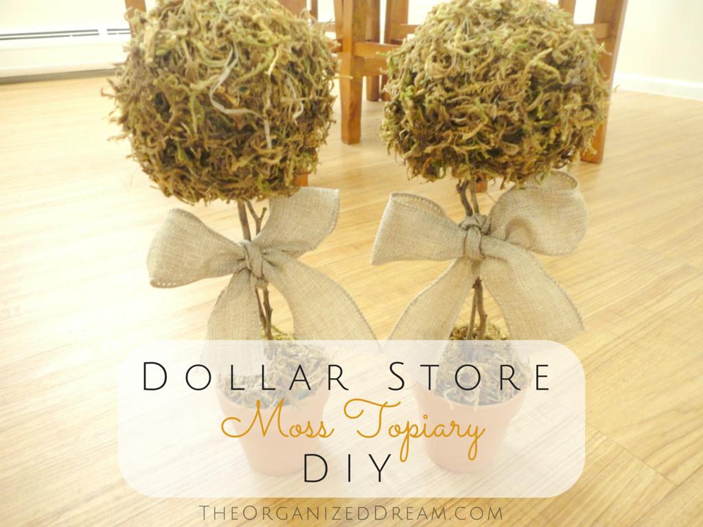 Dollar Store Moss Topiary Diy The Organized Dream