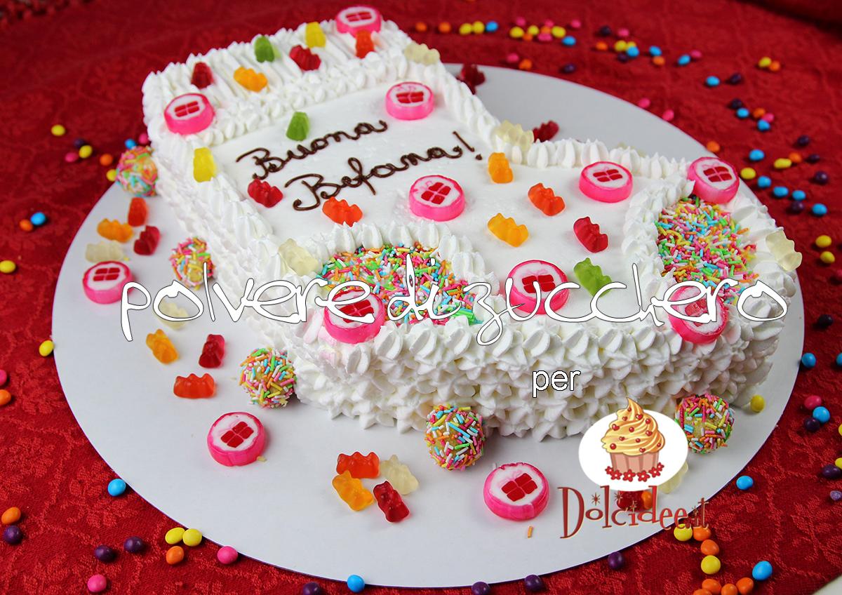 torta calza della befana torta decorata epifania dolcidee cameo paneangeli polvere di zucchero