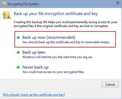 begin to back up windows 10 file encryption certificate