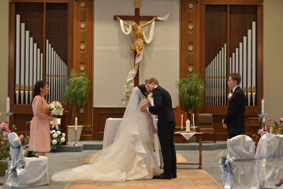 Bride and Groom kiss - St. James, Setauket