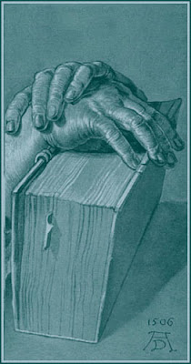 drawing of two hands crossed upon the spine of an old book
