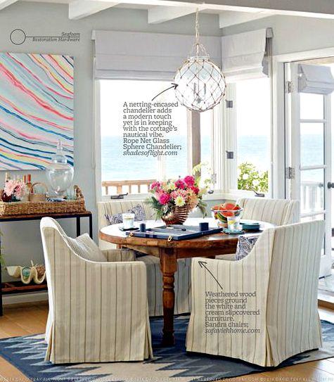 Lovely Glass Globe Rope Net Lamp above Dining Table