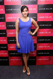 Priya Anand in Blue Sleeveless Dress at Lakme Salon for Womens Day Celebrations Event