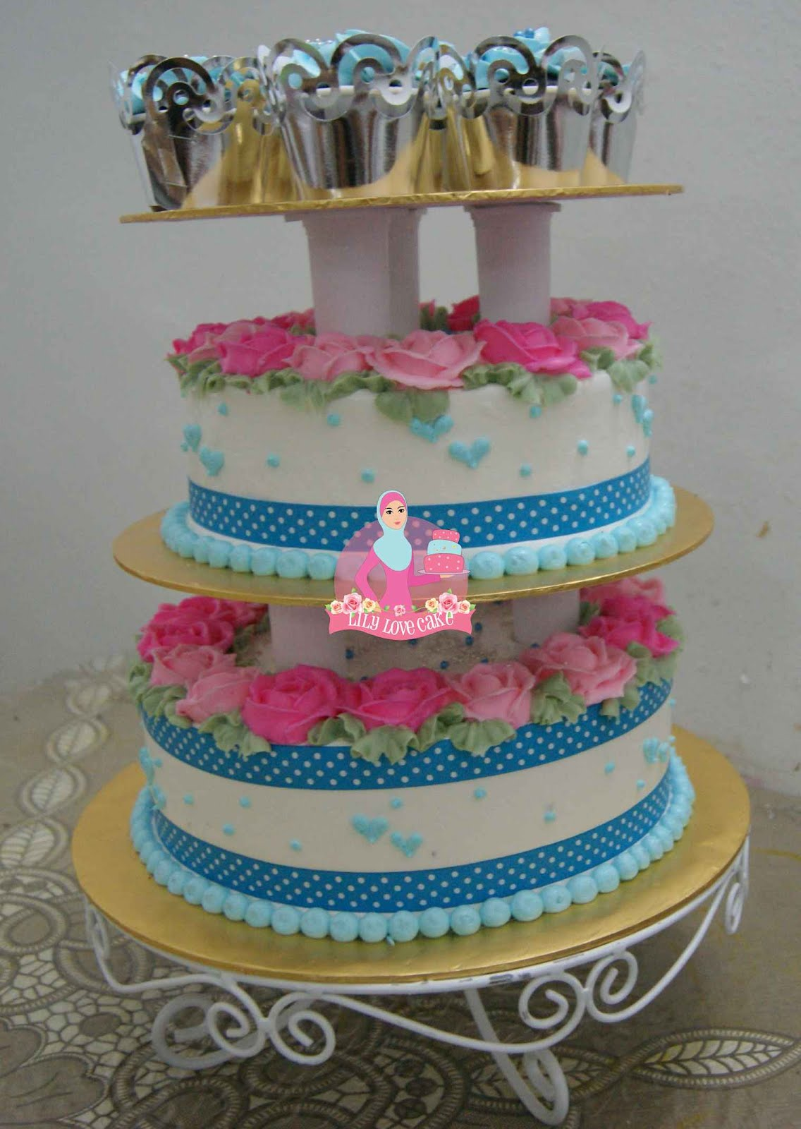 Wedding Cake in Pink & Blue Theme Lily Love Cake