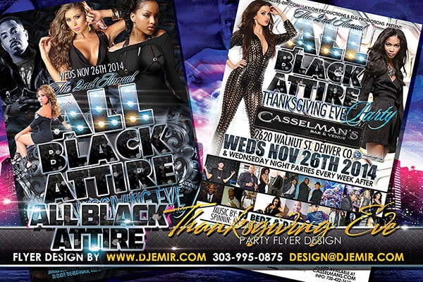 All Black Attire Thanksgiving Eve Party Flyer Design Denver