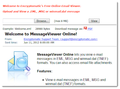 Online .eml, winmail.dat, and .msg file viewer