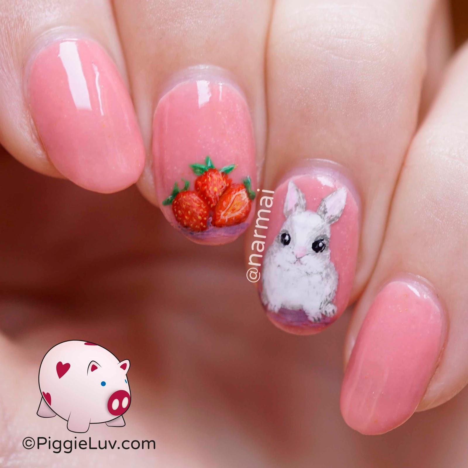 PiggieLuv: Freehand strawberry bunny nail art