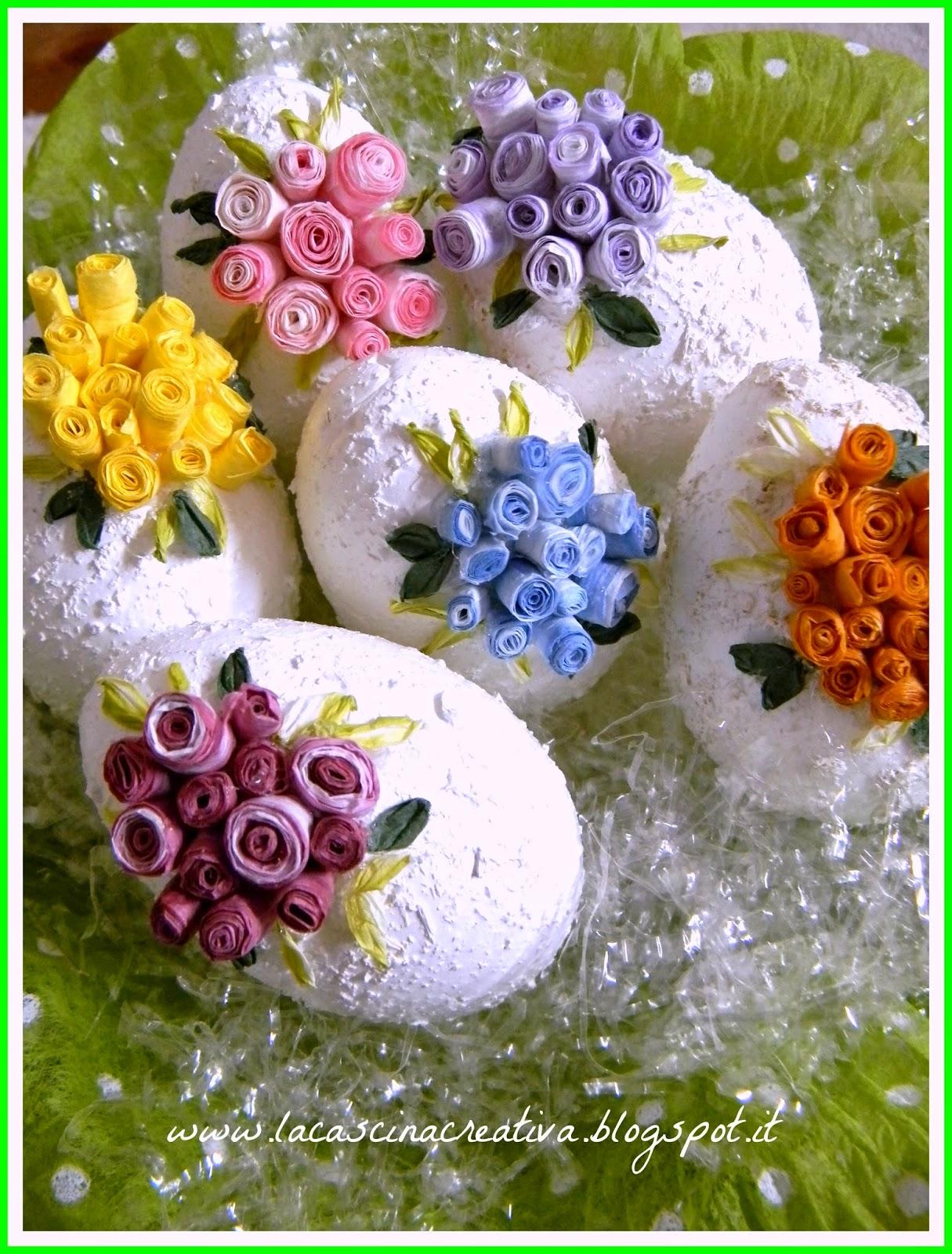 La cascina creativa uova pasquali decorate con roselline - Uova decorate per bambini ...