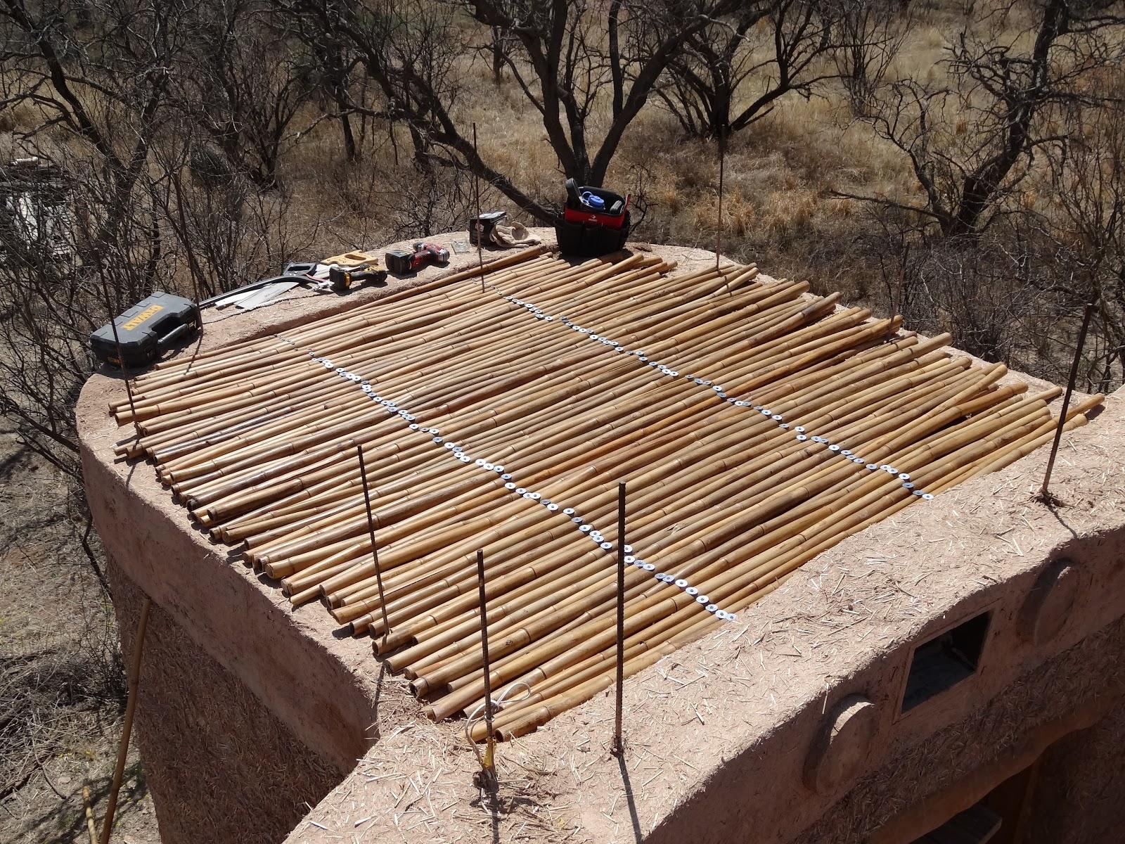 Cob Art Studio Arivaca Arizona Bamboo Ceiling for South Room