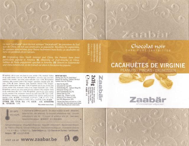 tablette de chocolat noir gourmand zaabär noir cacahuètes de virginie