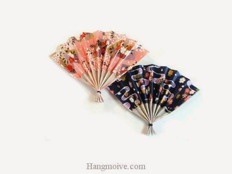 Cách gấp, xếp cái Quạt Nhật Bản bằng giấy origami - Video hướng dẫn xếp hình đồ thời trang - How to fold a Japanese Fan