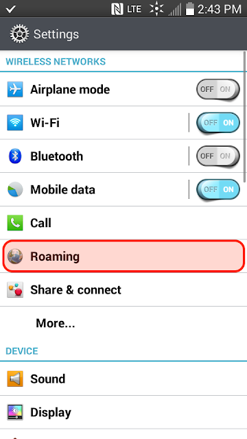 In Settings select Roaming