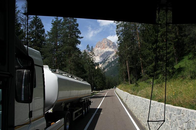 Vista de autocarro por entre floresta com os montes ao fundo. Um autocarro a passar em sentido contrário