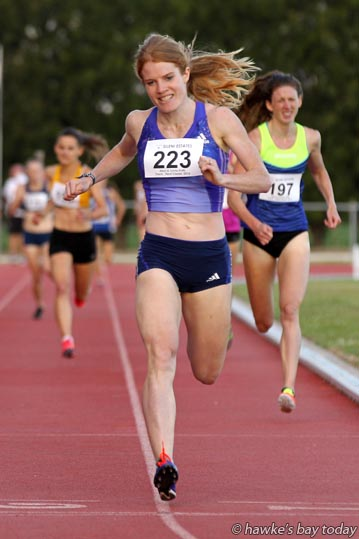Angela Petty, Canterbury University, winner of the Sylvia Potts Potts Memorial 800m elite women, at the Potts Track and Field Classic, athletics at Hawke's Bay Regional Sports Park, Hastings. photograph