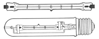 las lmparas halgenas de casquillos cermicos estn formadas por una ampolla cilndrica de cuarzo de dimetro muy reducido en cuyo interior se encuentra