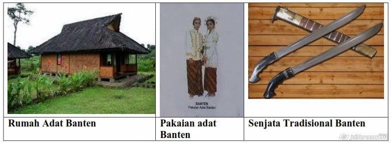 rumah,pakaian,senjata adat banten