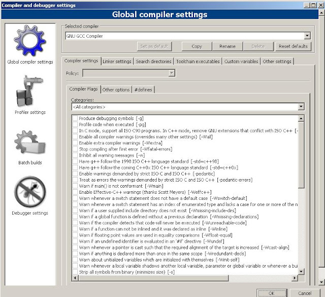 global compiler settings sdl