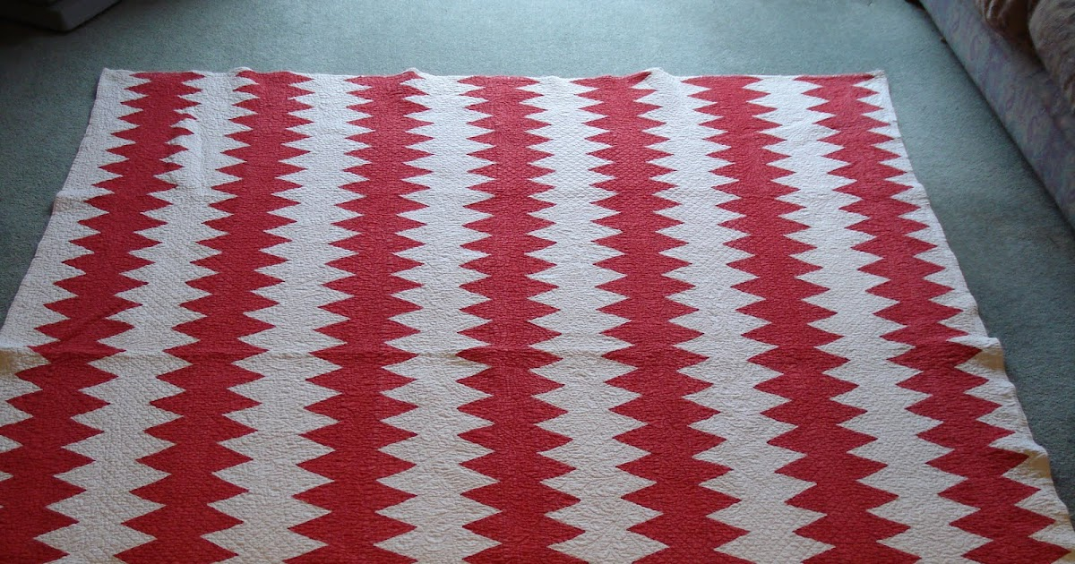 Welsh Quilts Red And White Zigzag Strippy Northumberland