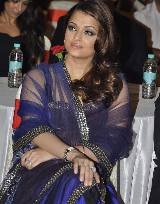 aishwarya rai blue saree photo gallery