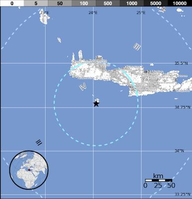 Epicentro sismo Creta, Grecia, 12 de Septiembre 2012