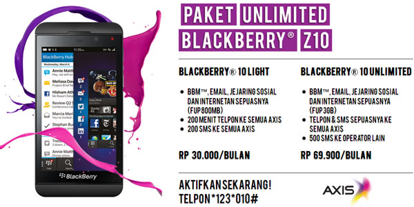Paket Unlimited Blackberry 10 AXIS