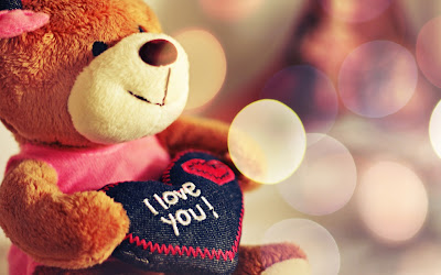 I love you Heart Shaped Pillow Holding Teddy Bear HD Desktop Wallpaper